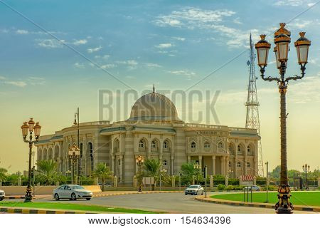 SHARJAH, UAE - OCTOBER 10, 2016: A typical Traditional arabic architecture of Sharjah Library