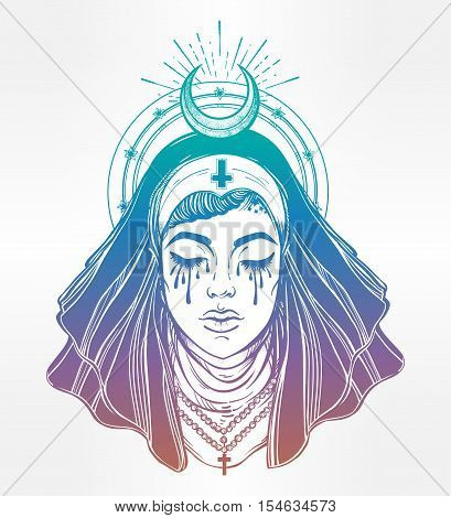 Illustration of a Catholic nun with eyes filled with tears. Beautiful evil witch. Mystic character. Alchemy, religion, spirituality, occultism, tattoo art. Isolated vector illustration.