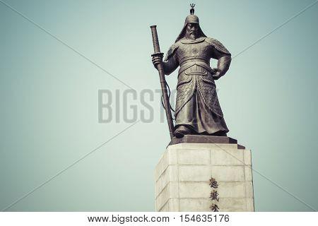poster of Statue of Admiral Yi Sunsin on Gwanghwamun plaza in Seoul South Korea.