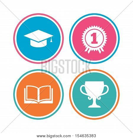 Graduation icons. Graduation student cap sign. Education book symbol. First place award. Winners cup. Colored circle buttons. Vector