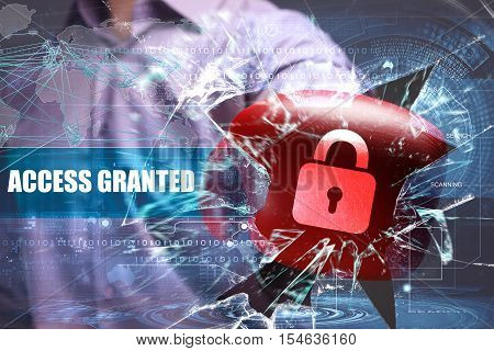 Business, Technology, Internet And Network Security. Access Granted