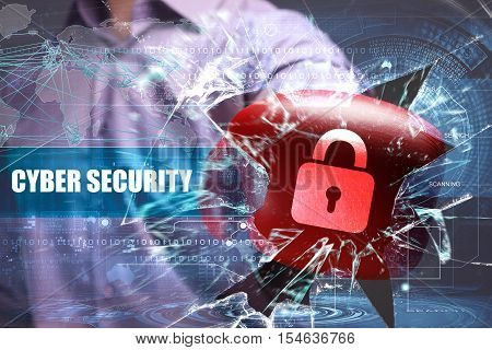 Business, Technology, Internet And Network Security. Cyber Security