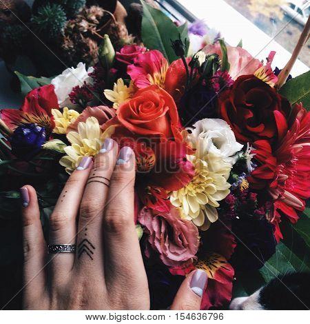 bouquet of beautiful flowers. birthday. tattoo. henna. on the windowsill. Tumblr