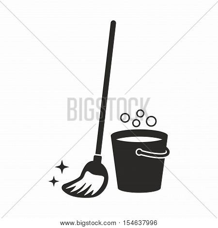 Mop icon, cleaning equipment isolated on white background