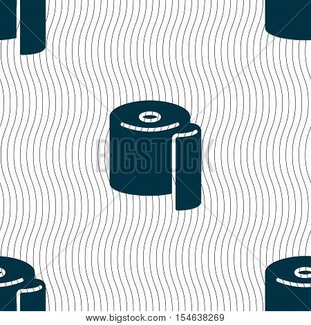 Toilet Paper Icon Sign. Seamless Pattern With Geometric Texture. Vector