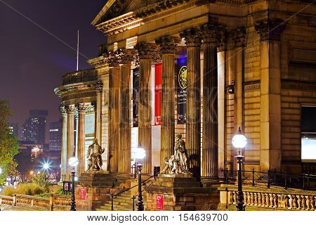 LIVERPOOL UK 31st OCTOBER 2016. A nighttime view of the Walker Art Gallery on William Brown St Liverpool