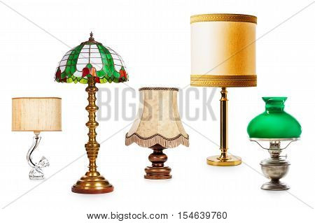 Old table and floor lamps. Interior objects collection isolated on white background. Design elements. Retro style