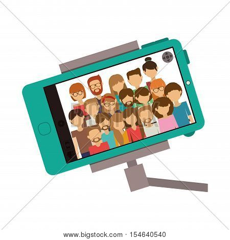 selfie stick with smartphone device taking a photo selfie on screen. isolated design. vector illustration