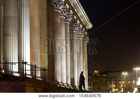 A nighttime view of St Georges Hall Liverpool a grade 1 listed building