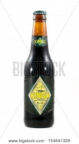 NEW YORK NY - SEPTEMBER 25th 2016: Glass bottle of Xingu Brazilian black beer