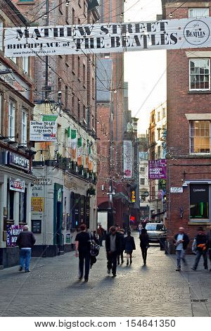LIVERPOOL UK 31st OCTOBER 2016. People out and about in Mathew Street Liverpool UK