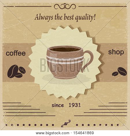 Vintage label coffee shop with coffee beans. eps10