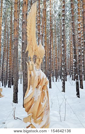 Irkutsk Region,russia-jan, 03 2015: Fairy Forest Bird. Park Of Wooden Sculptures In Savvateevka Vill