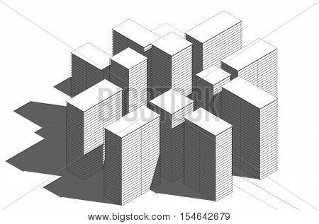 3d illustration. Side view from a distance on a modern development with skyscrapers. Line black and white graphics with shadows.
