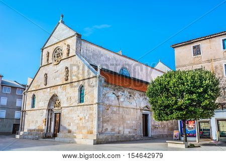 View at architecture of parish church in Pag town, Island Pag, Croatia Europe.