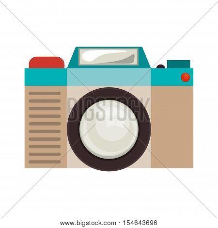 retro photographic camera device over white background. colorful design. vector illustration