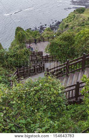 JEJU ISLAND - OCTOBER 25 2016: Long stairways down the hillJeju Island South Korea.
