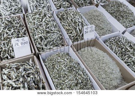 Dried fish market in Seul, South Korea