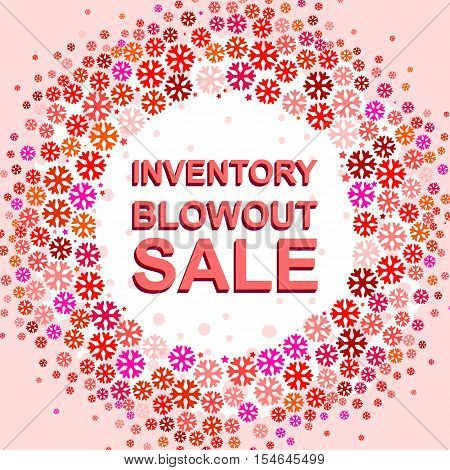 Big winter sale poster with INVENTORY BLOWOUT SALE text. Advertising pink and red  banner template