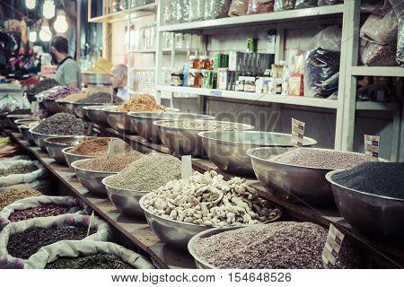 Isfahan, Iran - October 06, 2016: Inside Spice Market At Isfahan Grand Bazaar