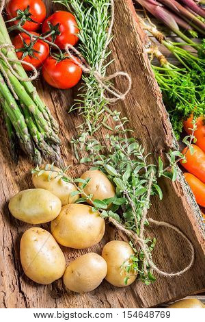 Various fresh vegetables on bark on old wooden table
