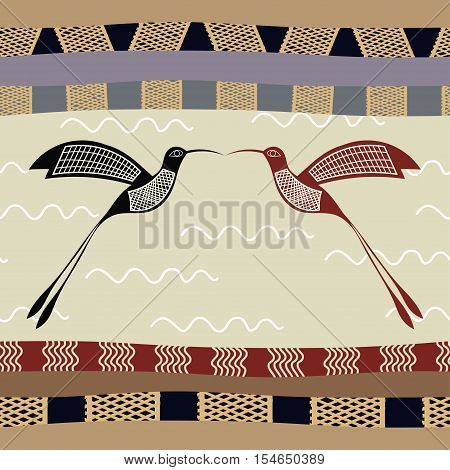 Seamless pattern with hummingbirds ethno tribal style