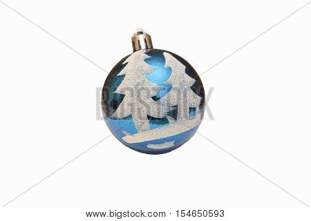 Christmas a toy for a fir-tree blue and brilliant