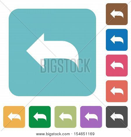 Reply to mail white flat icons on color rounded square backgrounds