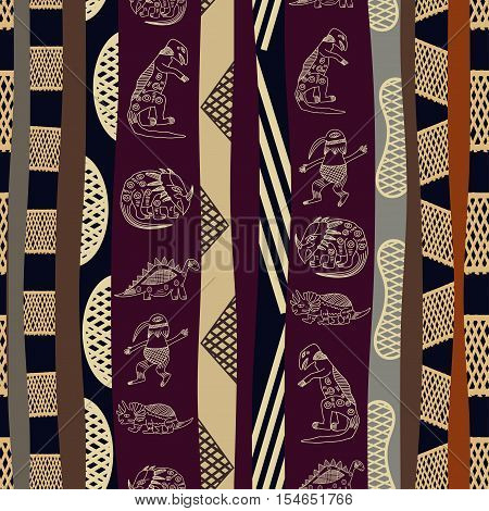 Seamless pattern with silhouettes of dinosaurs ethno tribal style