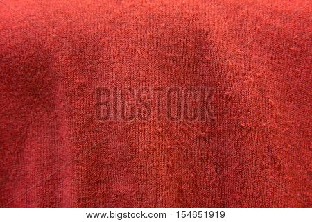Close Up Of Red Knitwear Fabric. Texture, Background