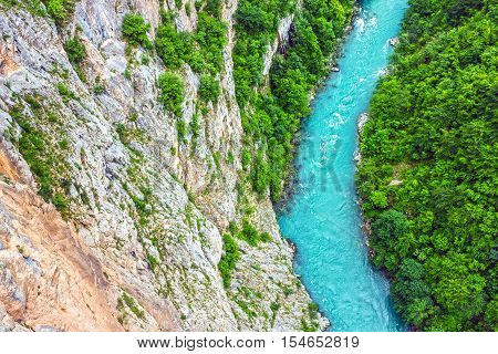 Green hills and mountain river. Natural landscape, Montenegro