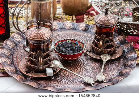 Turkish traditional tea table appointments - glasses, Turkey.