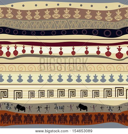 Seamless tribal texture with animals ethno style