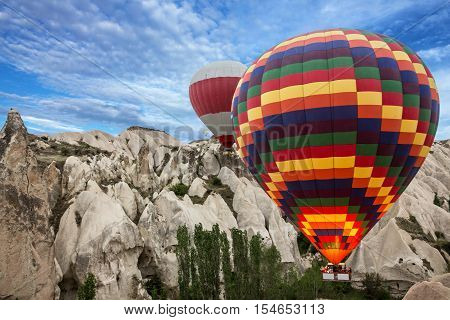 Hot air balloons show in Cappadocia, Turkey