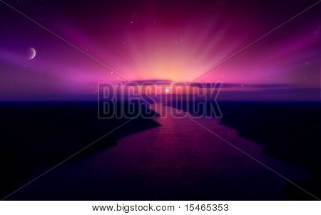 Purple Sunset Over A River