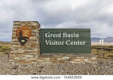 Great Basin National Park, Nevada, USA - October 14, 2016:  Visitor Center welcome sign at Great Basin National Park in Eastern Nevada.