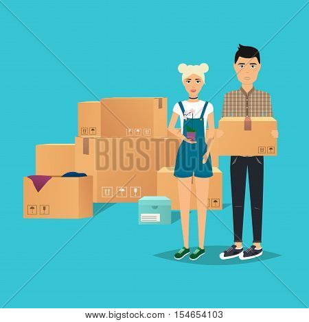 Young Couple Moving. Box for moving open box. Flat design modern vector illustration concept.