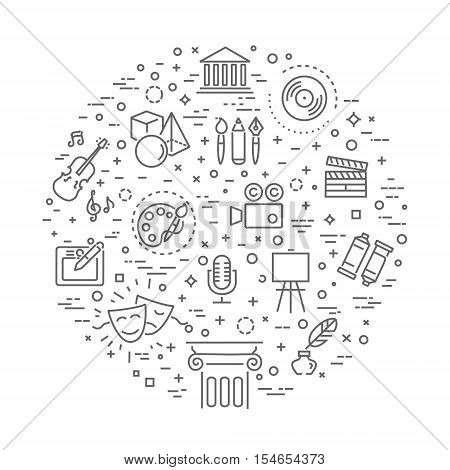 Outline vector art Icon set. Cinematography, music, graphics