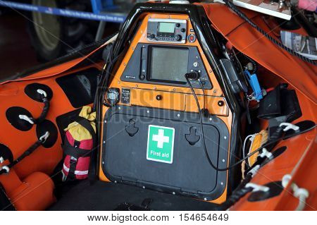 Littlehampton, Uk - October 25 2016: Cockpit And Controls Of An Rnli (royal National Lifeboat Instit