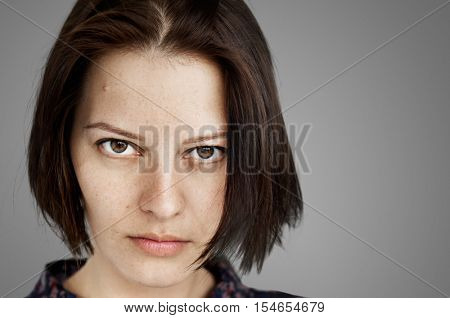 Woman Face Upset Unhappy Expression Concept