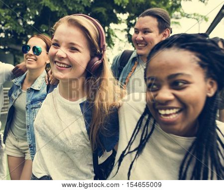 Diverse Group People Hanging Out Concept