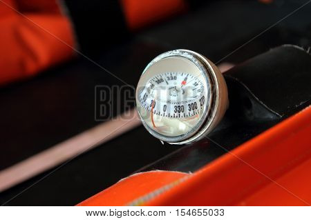 Littlehampton, Uk - October 25 2016: Nautical Compass On An Rnli (royal National Lifeboat Institutio