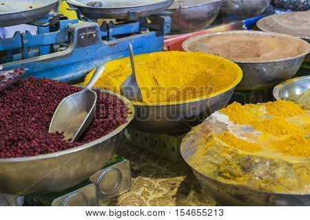 Colorful Spices On The Bazaar. Iran. Isfahan.