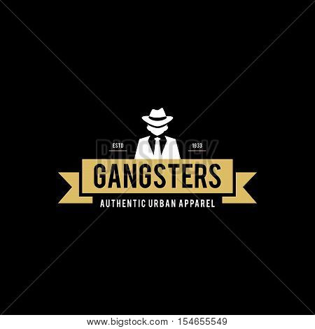 Retro badge Gangsters and Mafia. Man in black suit. Vector illustration