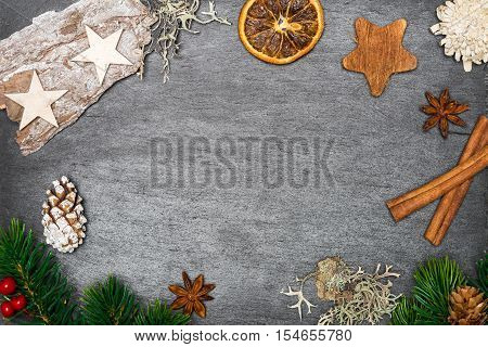 Christmas Decoration On Shale As Background With Blank Space