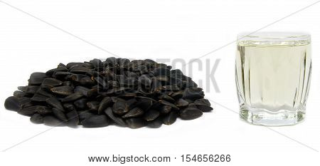 sunflower seed and oil isolated on white