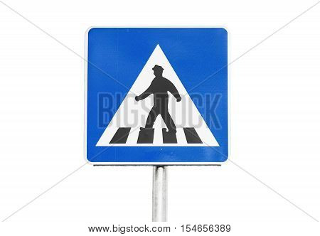 Pedestrian Crossing Sign On White