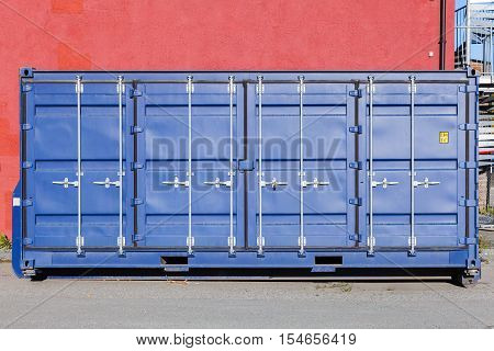 Closed Blue Standard Cargo Container
