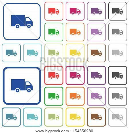 Delivery truck color icons in flat rounded square frames. Thin and thick versions included. poster