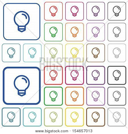 Light bulb color icons in flat rounded square frames. Thin and thick versions included.